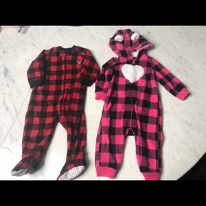 2 cozy fleece sleepers for 6-9 month old.